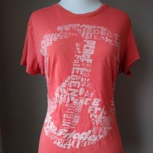 Lucky Brand Short Sleeve Peace Shirt Ladies Large